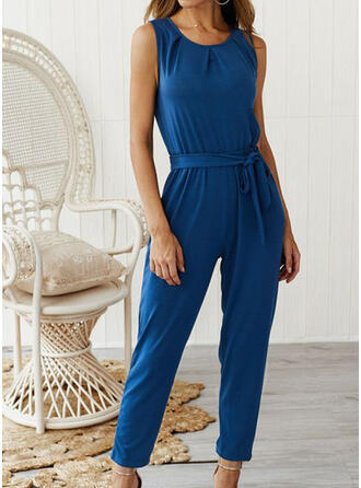Solid Strapless Sleeveless Casual Jumpsuit