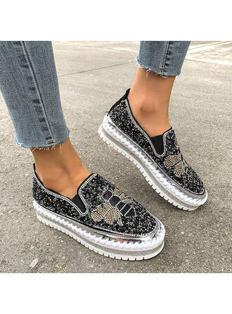 Women's PU Flat Heel Flats Round Toe With Applique Splice Color shoes