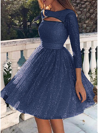 Sequins/Solid Long Sleeves A-line Knee Length Sexy/Party Skater Dresses