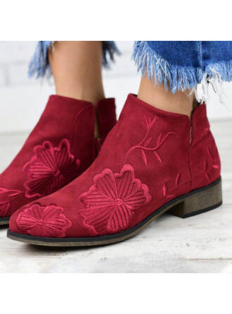 Women's Suede Flat Heel Round Toe With Floral shoes