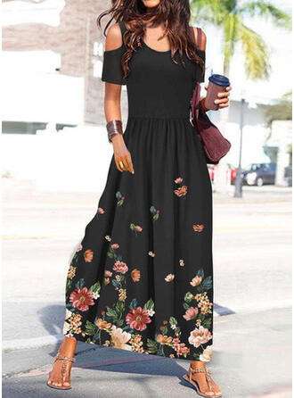 Print/Floral Short Sleeves A-line Skater Casual/Vacation Maxi Dresses