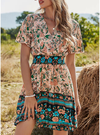 Print/Floral Short Sleeves A-line Above Knee Boho/Vacation Skater Dresses
