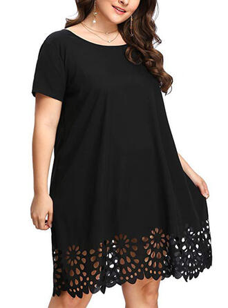Plus Size Lace Solid Short Sleeves Shift Knee Length Casual Dress