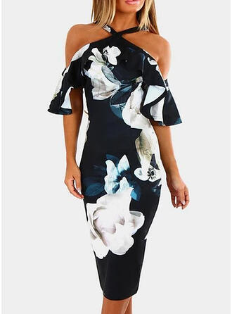 Print/Floral Sleeveless Bodycon Knee Length Sexy/Party Pencil Dresses