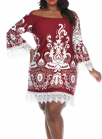 Plus Size Lace Print Flare Sleeve Long Sleeves Shift Above Knee Plus Size Casual Vintage Dress