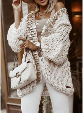 Chunky knit Sequins Casual Cardigan