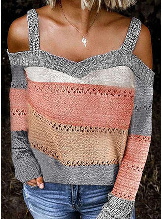 Color Block Cold Shoulder Casual Sexy Sweaters