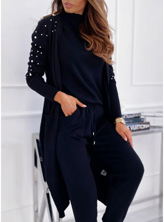 Solid Pocket Beaded Casual Long Cardigan