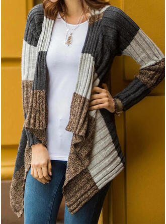 Color Block Ribbed Casual Cardigan