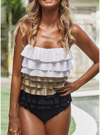Color Block Strap U-Neck Casual Vacation One-piece Swimsuits
