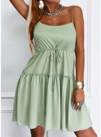 Solid/Backless Sleeveless A-line Above Knee Casual Slip/Skater Dresses