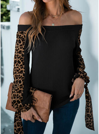 Leopard Off the Shoulder Casual Sweaters