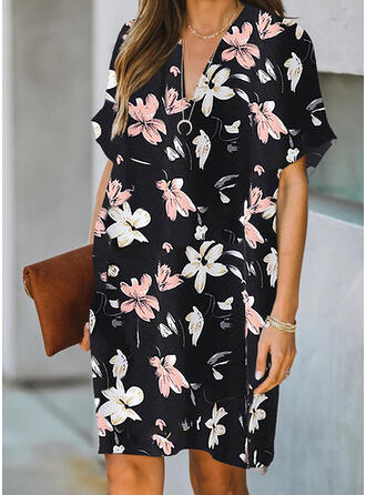 Print/Floral Short Sleeves Shift Knee Length Casual Tunic Dresses
