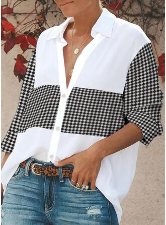 Print Plaid Lapel Long Sleeves Button Up Casual Shirt Blouses