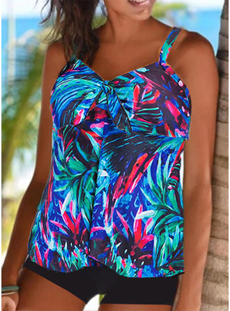 Tropical Print Strap V-Neck Attractive Casual Tankinis Swimsuits