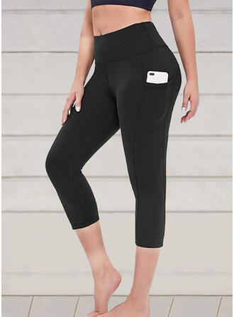 Solid Patchwork Capris Casual Sexy Yoga Leggings