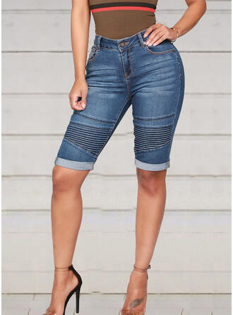 Striped Patchwork Casual Sexy Shorts Denim & Jeans