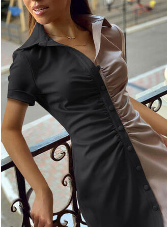 Color Block Short Sleeves Bodycon Above Knee Casual Shirt Dresses