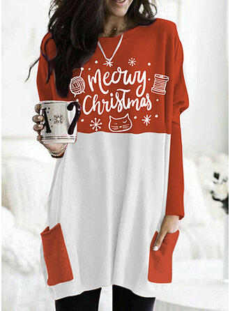 Print Color Block Round Neck Long Sleeves Christmas Sweatshirt