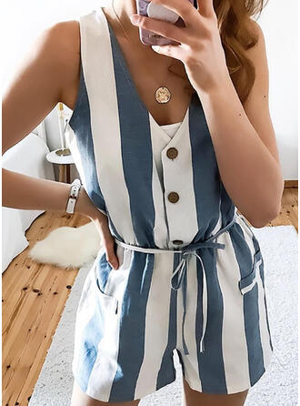 Striped V-Neck Sleeveless Casual Vacation Romper