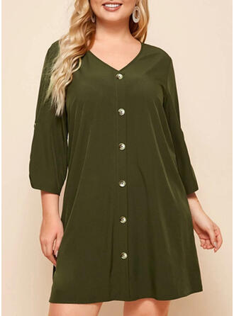 Plus Size Solid 3/4 Sleeves Shift Above Knee Casual Dress