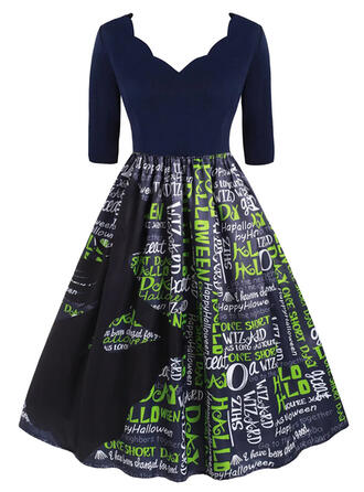 Print 1/2 Sleeves A-line Knee Length Party/Halloween Skater Dresses