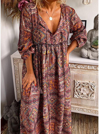 Print Long Sleeves Shift Casual/Boho Maxi Dresses