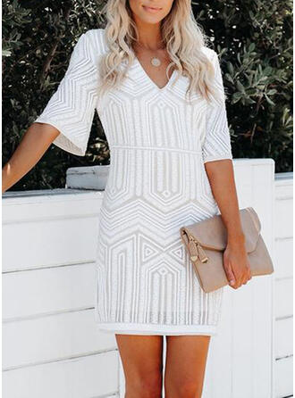 Print 1/2 Sleeves Bodycon Above Knee Little Black/Casual Dresses