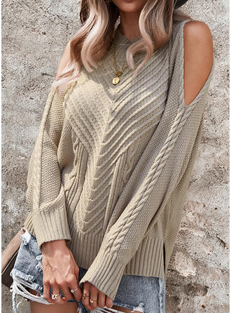 Solid Cable-knit Cold Shoulder Casual Sweaters