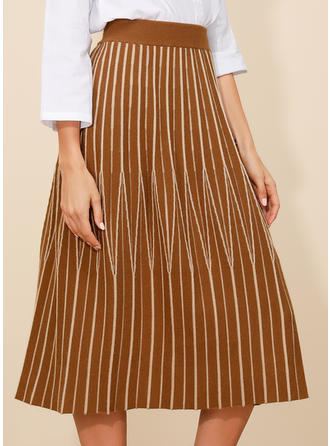Polyester Striped Mid-Calf Pleated Skirts Flared Skirts A-Line Skirts