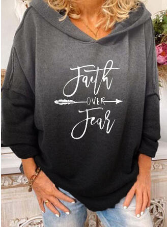 Print Figure Gradient Long Sleeves Hoodie
