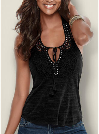 Solid Lace Sequins Round Neck Sleeveless Sexy Tank Tops