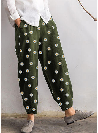 Floral Plus Size Cropped Boho Casual Pants