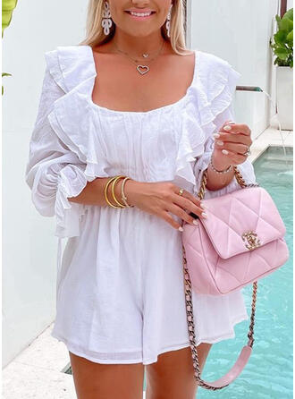 Solid Square Collar Long Sleeves Vacation Romper
