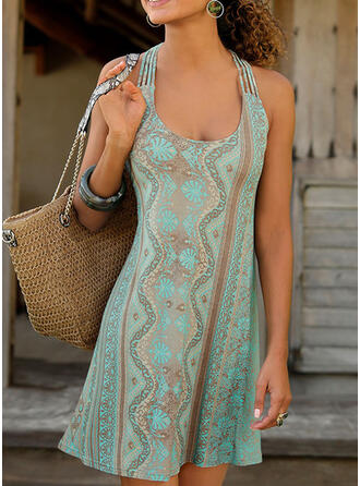 Print/Backless Sleeveless Shift Above Knee Casual/Boho/Vacation Tank Dresses