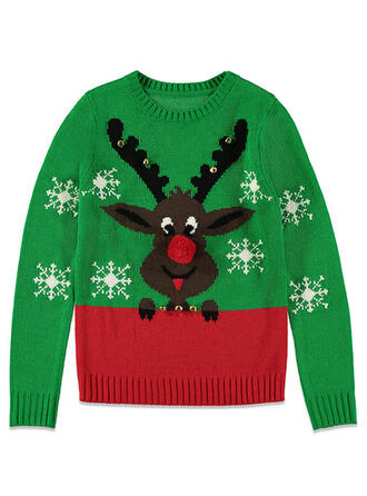 Unisex Polyester Color Block Reindeer Ugly Christmas Sweater