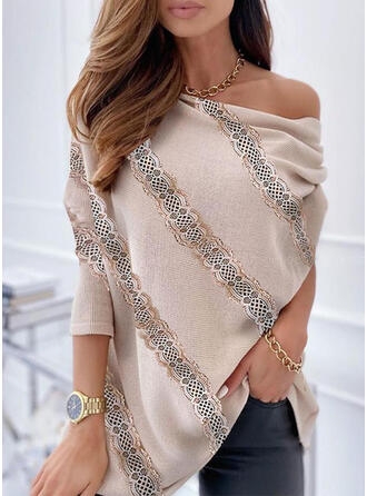 Solid Lace One Shoulder Casual Sweaters