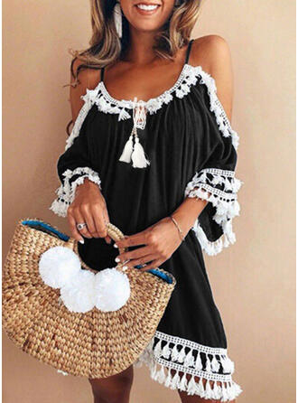 Solid Color Strap Round Neck Fresh Cute Plus Size Cover-ups Swimsuits