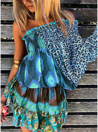 Print/Leopard Long Sleeves/Flare Sleeves A-line Above Knee Boho/Vacation Skater Dresses