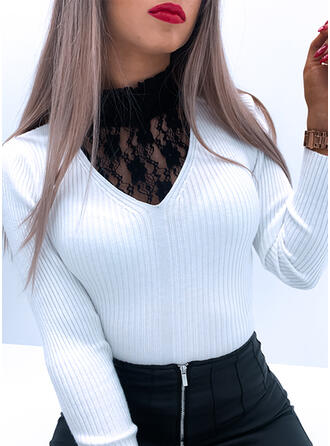 Solid Lace Stand Collar Casual Tight Sweaters