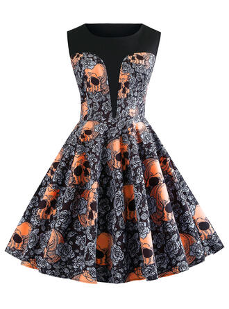 Print/Floral Sleeveless A-line Knee Length Party/Halloween Skater Dresses