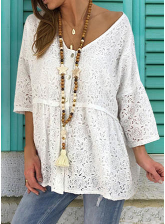 Lace V-Neck 3/4 Sleeves Button Up Casual Elegant Blouses