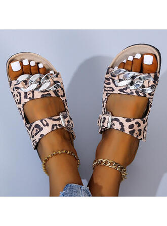 Women's PU Flat Heel Sandals Flats Peep Toe Slippers With Animal Print Hollow-out shoes