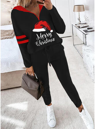 Letter Striped Print Casual Plus Size Sweatshirts & Two-Piece Outfits Set
