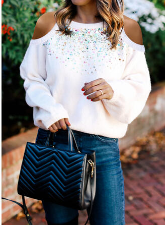 Solid Cold Shoulder Casual Sexy Sweaters