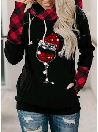 Print Sequins Long Sleeves Christmas Sweatshirt