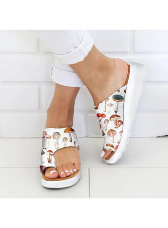 Women's PU Wedge Heel Sandals Wedges Peep Toe Toe Ring With Hollow-out shoes