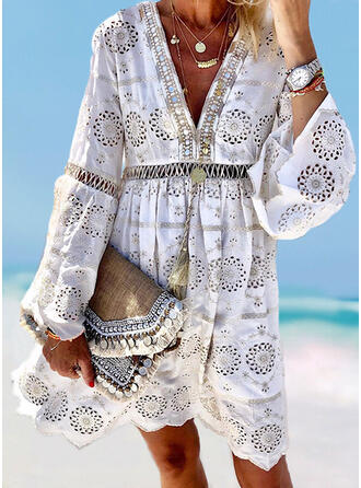 Solid Color Hollow Out V-Neck Colorful Boho Exquisite Cover-ups Swimsuits