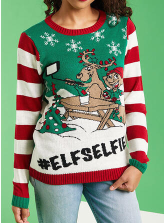 Women's Polyester Reindeer Letter Cartoon Ugly Christmas Sweater