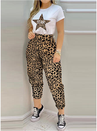 Leopard Letter Print Plus Size Sexy Tee & Two-Piece Outfits Set